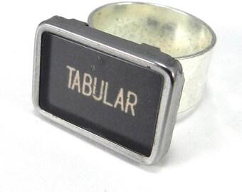 Vintage Typewriter Ring TABULAR Typewriter Key Ring on Sturdy Adjustable Silver Plated Band