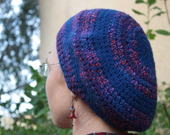 Royal Blue Royal Crown Beret Tam Wool