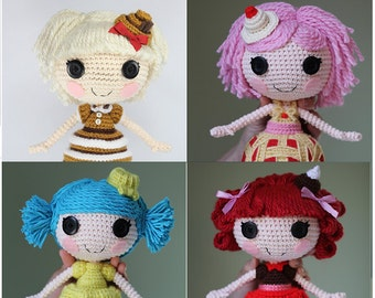 PATTERN 4 PACK: Dessert Shop and Mini Cakes Crochet Amigurumi Dolls