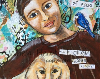 St. Francis, Francis of Assisi, St. Francis painting, saint icon, confirmation gift, patron saint of animals,icon painting, religious gift,