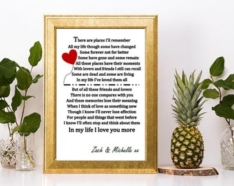 Valentines day gift personalised The Beatles In My Life lyric heart print or canvas boyfriend girlfriend wife husband
