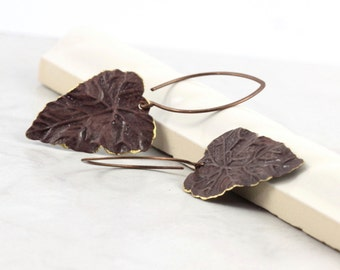 Mocha Brown Earrings Woodland Jewelry Rustic Brass Patina Handmade Copper Ear Wires Mothers Day Jewelry