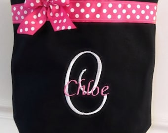 Pink Polka Dot Monogrammed Dance Bag Personalized With Any Name