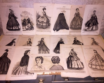 Lot of 17 Loose Pages Harpers Bazaar Mid Victorian Fashion Prints Engravings Art 1860s