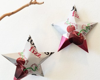 Honest Fizz Professor Fizz Cherry  Stars, Ornaments,  Soda Can, Upcycled. Red White