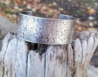 Tapestry Wide Sterling Silver Cuff Bracelet.