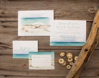 Tropical Destination Beach Wedding Invitations & Stationery - SAMPLE - Watercolour Artwork and Design by Alicia's Infinity