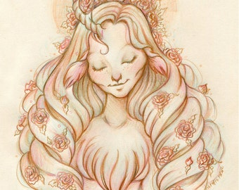 Serenity - Original Drawing on Moleskine ORIGINAL OOAK Art