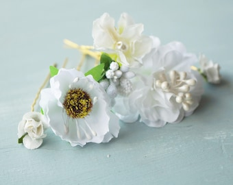 Flower hair pins, classic gold, white, and pearl floral hair picks, bridal hair pins