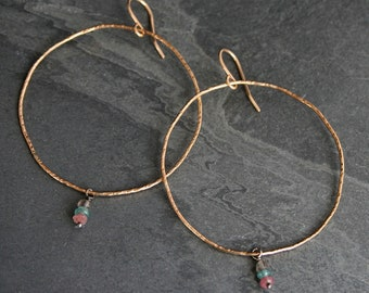 Asymmetrical 14k Gold Fill Hoops Gold Filled Earrings Organic Organically Shaped Hammered Texture Featherweight Gemstone Bead Eternity Hoops