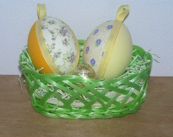 Easter: Basket trimmed with sequins and fabric eggs