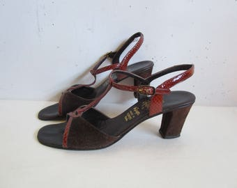 70s Suede Leather Sandals Vintage Amalfi by Rangoni Dark Brown 1970s High Heel Open Toe Shoes Womens Footwear 8S