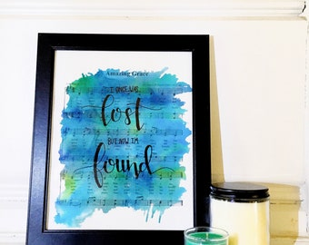Amazing Grace Lyric Watercolor