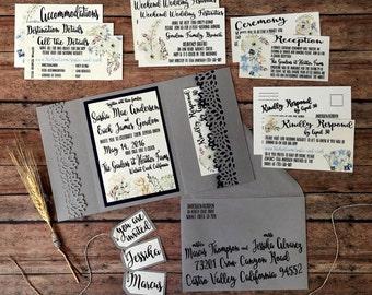 Unique wedding invitation, handmade pocketfold invitation, grey rustic printed invitation set, country theme, navy wedding, DIY wedding