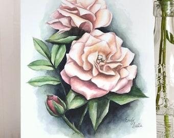 ORIGINAL Rose Painting - Pink Flower Watercolour Illustration