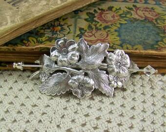 Shawl Pin, Scarf Pin, Sweater Pin, Flower Shawl Pin, Flower Scarf Pin, Crystal Stick Pin, Flower Bouquet Pin, Silver Flower Pin, Flower Pin