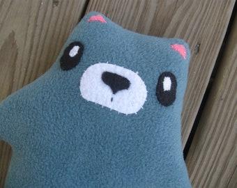 BLUE plush BEAR doll plushie mascot serious
