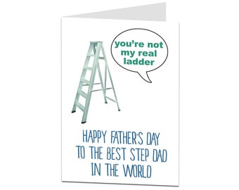 Stepladder Joke Funny Father's Day Card For Stepdad. Stepdad Fathers Day Card