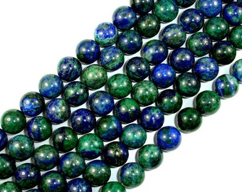 Azurite Malachite Beads, Round, 12mm, 15 Inch, Full strand, Approx 32 beads, Hole 1.2 mm, A quality (129054007)
