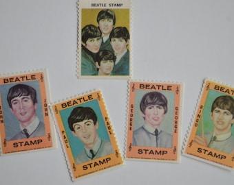 SALE Vintage Beatles Ephemera Hallmark Novelty Stamps Fab Four, John, Paul, George, Ringo, NEMS, Merchandise Set of 5, Memorabilia