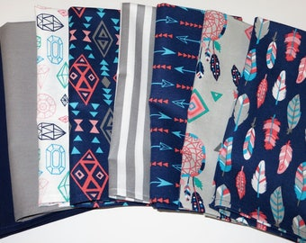 Cloth Napkins Feathers and Arrows, Blues and Gray, Dinner Napkins, Set of 8, Handmade and READY to SHIP