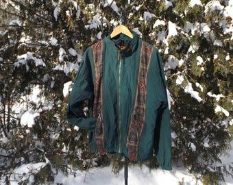 Vintage Windbreaker, Boho Jacket, Louis Garneau Brand,Aztec, Minimalist Forest Green, 90s Windbreaker, Size Medium, Pattern Jacket, Cycling