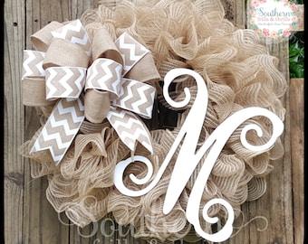 Burlap Monogram Wreath, Initial Wreath, Rustic Wreath, Personalized Wreath, Deco Mesh Wreath, Front Door Wreath, Letter Wreath, Year Round
