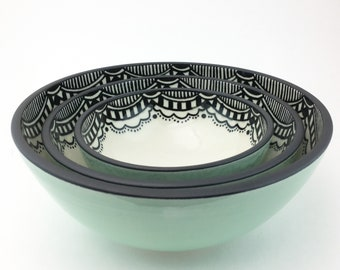 MADE TO ORDER Porcelain Hand Painted Lace Pattern Nesting Bowls