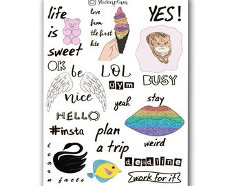 Funny Girl Quotes Stickers, Summer Quotes, Hello, Life is Sweet, Stay Weird, Be Nice, Plan a Trip, Love from the first bite, Quotes Planner