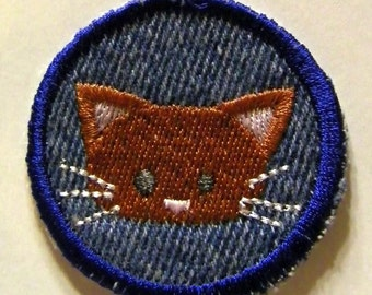 Cute Kitty Cat Iron on Patch / Merit Badge
