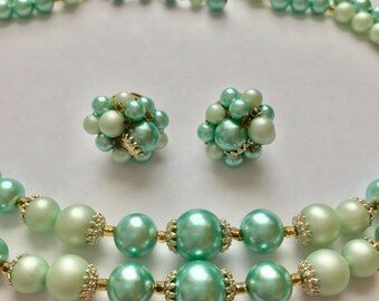 Vintage Shades of Light Green Multi Strand Necklace and Clip Earrings