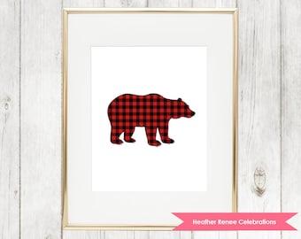 Bear Nursery Print   Printable Woodland Nursery Decor   Red Buffalo Plaid Wall Art Instant Download