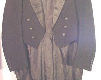 Circa 1930s Edwardian Style Wool Cutaway Tuxedo