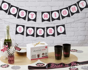 "Black and Pink Bachelorette Party Kit ""Best Night Ever!"" (66 Piece Kit)"