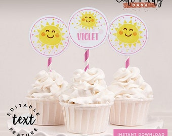 INSTANT DOWNLOAD - EDITABLE You are my Sunshine Cupcake toppers You are my Sunshine Party decorations You are my Sunshine birthday party
