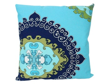 Turquoise, Navy and Green Schumacher Outdoor Pillow Cover- Super Paradise Print