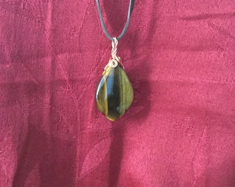 Teardrop Tiger's eye gemstone cabochon