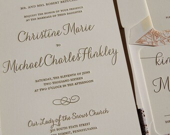 Letterpress Wedding Invitation Sample, Wedding Invitation, Wedding Invitations, Wedding Invitation Suite, Wedding Invitation, Elegant Invite