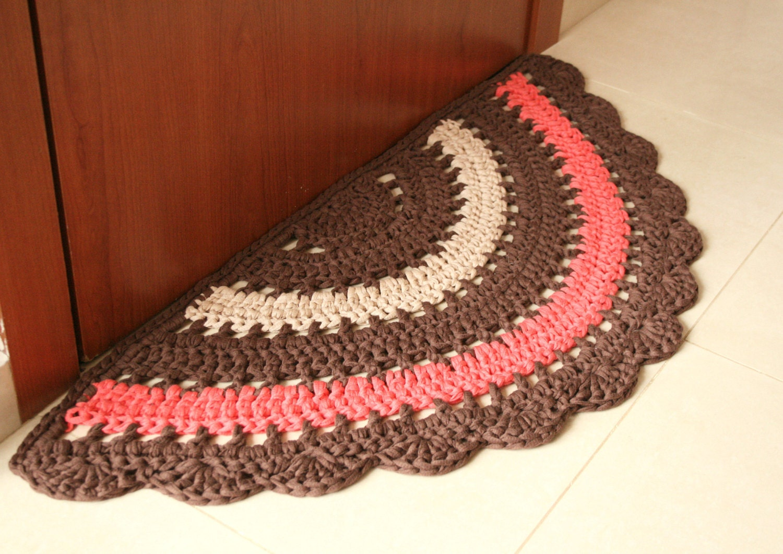 READY TO SHIP Crochet boho half rug rustic half rug cotton