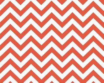 SALE - Fabric Destash Home Decor Fabric - Premier Prints Coral Chevron - Price per Yard