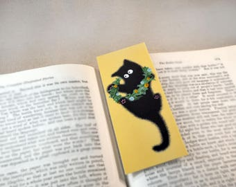 Black Cat with Flower Crown Bookmark - Original, Laminated Illustration