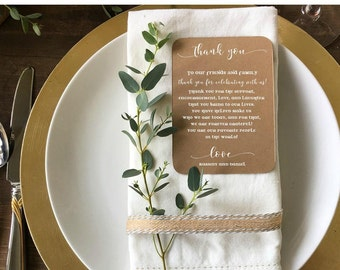 Storybook Wedding Reception Thank You Cards - Custom Reception Place Cards - Personalized Wedding Thank You Cards - Vintage Rustic