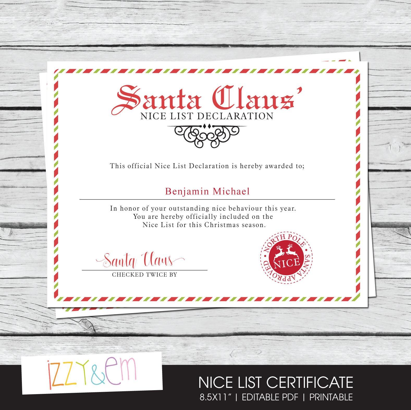 Santas nice list certificate santa printable zoom xflitez Gallery