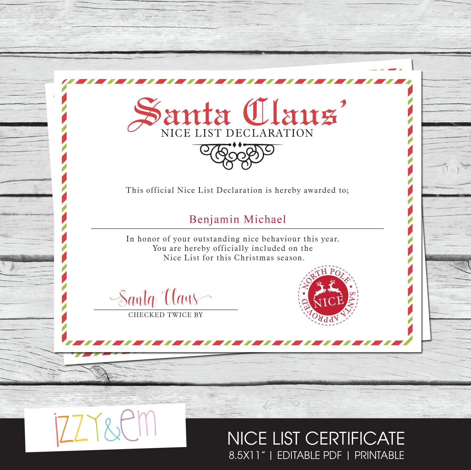 Santas nice list certificate santa printable zoom yadclub Choice Image