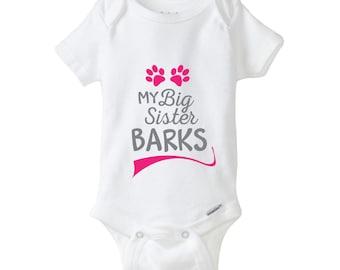 My Big Sister Barks Baby Onesie