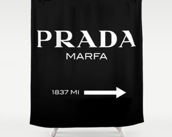 Prada Marfa Shower Curtain, Designer Inspired, Fashion Decor, Black and White Fabric Shower Curtain, Standard or Extra Long, Gifts for Her