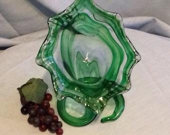 Vintage Hand Blown Green Swirl Stem Trumpet Vase
