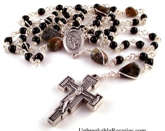 St Francis Wolf of Gubbio Rosary Beads Black Onyx w Amphibolite w Franciscan Renaissance Crucifix by Unbreakable Rosaries