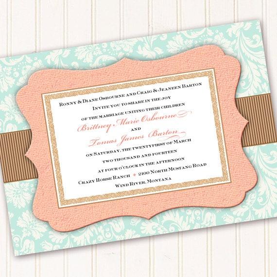 wedding invitations, aqua wedding invitations, peach wedding invitations, aqua bridal shower invitations, peach baby shower invitation IN257