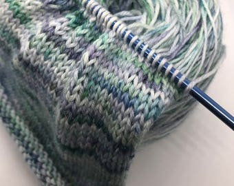 Spring in Oregon Hand Painted Blue and Green Wool Bamboo Superwash Yarn Fiber stumptownyarn